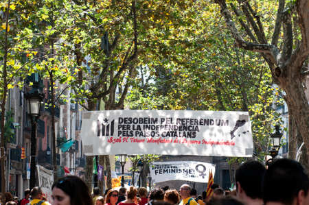 BARCELONA, SPAIN- 11TH SEPTEMBER 2014 : Banner for Catalan Independence Day