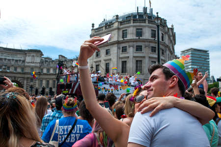 LONDON, UNITED KINGDOM - JULY 8TH 2017: The biggest march in 45 years, over 1 million people came to the streets to celebrate pride and watch the parade. Over 26,000 participated in the march.