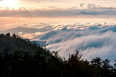 Sunset and rolling clouds over the Great Smokey Mountains. Stock Photo