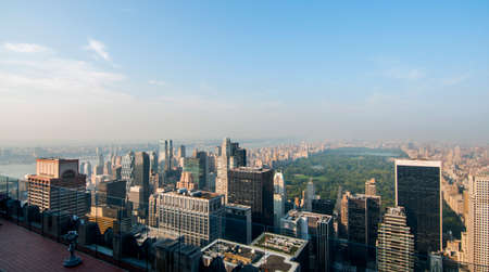 Aerial view of Upper Manhattan bathed in the sun