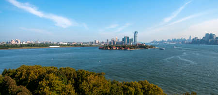 New York cityscape from Ellis Island
