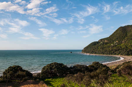 Whituare Bay along the Pacific Coast Highway, New Zealand. Stock Photo