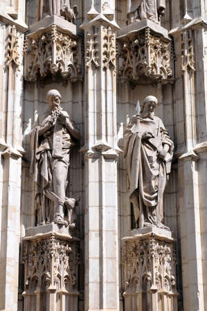 Statues of saints carved in stone detail of exterior in the Cathedral of Seville Andalusia%2C Spain. Editorial