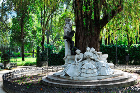 Beautiful monument dedicated to poet Gustavo Adolfo Becquer located in the north of the Maria Luisa Park in Seville Spain.