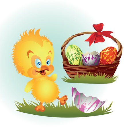 Easter chicken near basket with eggs Illustration