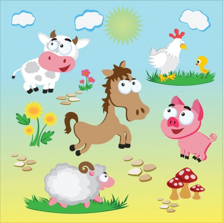 Domestic animals of village farm Vector