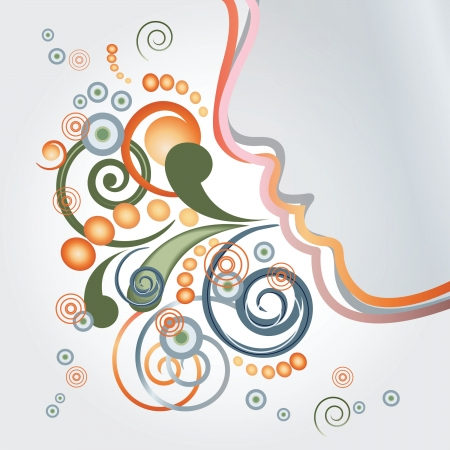 Abstract face breathing  curly and round particles Illustration