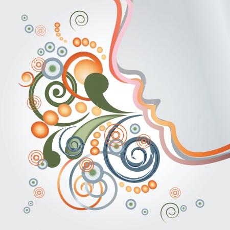 Abstraktes Gesicht Atem lockig und runde Partikel
