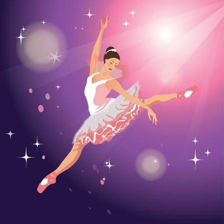 Ballet dancer girl dancing in the lights