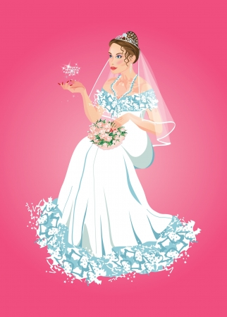Bride sitting with flowers and heart