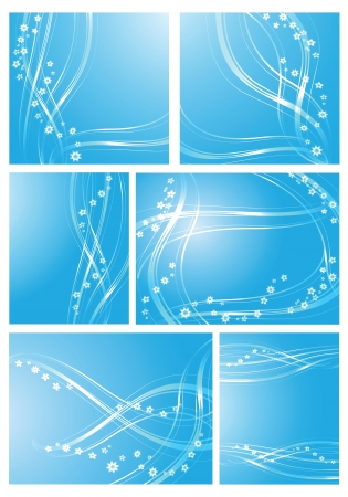 Compositions of waves and flowers on light blue background
