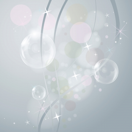 Transparent bubbles, waves and stars on gray background Illustration