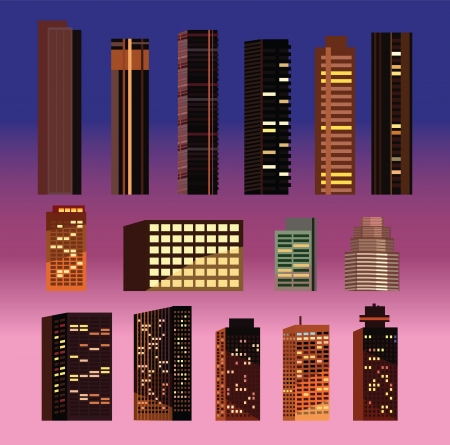 Skyscrapers and buildings of different size   Illustration
