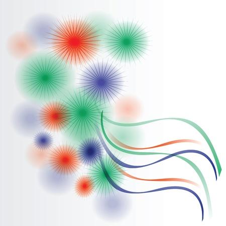 Orange, blue and green circles and ribbons