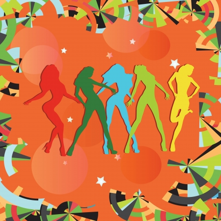 Dancing girls silhouettes on multi-colored background