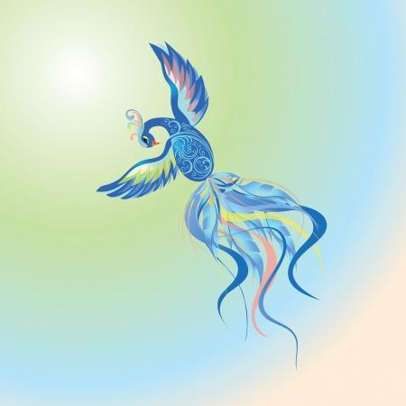 Blue fire-bird flying in multicolored sky