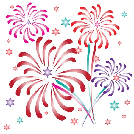 Multicolored fireworks and stars Stock Vector - 21200608