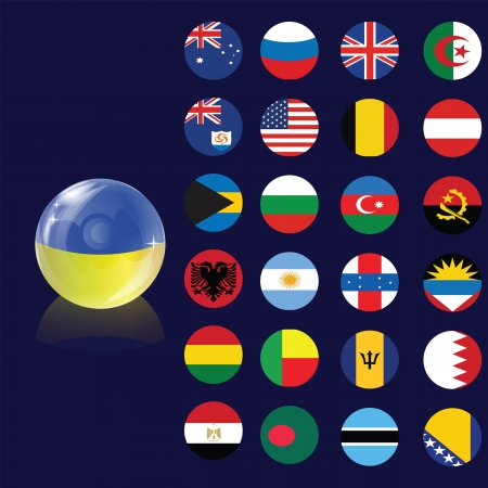 antigua flag: Flag bubble and circle samples of flags