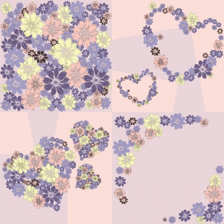 Flower hearts frame background Vector