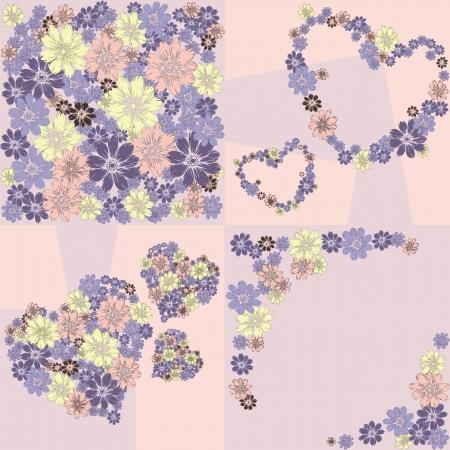 Flower hearts frame background Illustration