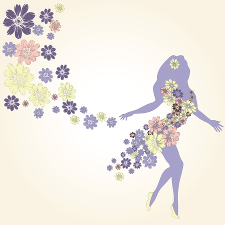 Dancing girl in dress made of flowers Stock Vector - 21200614