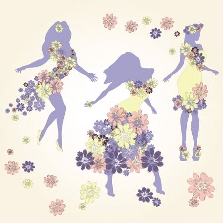Dancing girl in dress made of flowers Illustration
