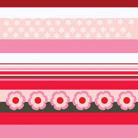 Red and pink stripes with flowery patterns Stock Vector - 21200618