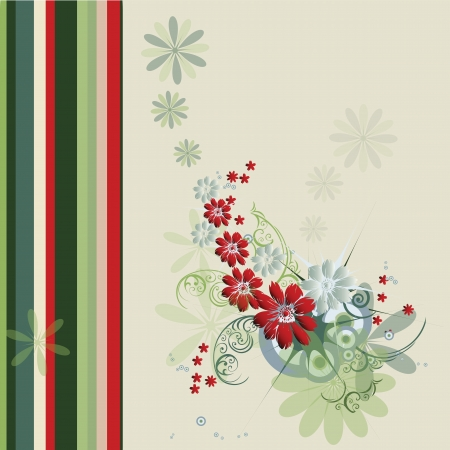 Composition of flowers, leaves, circles, stars and stripes Illustration