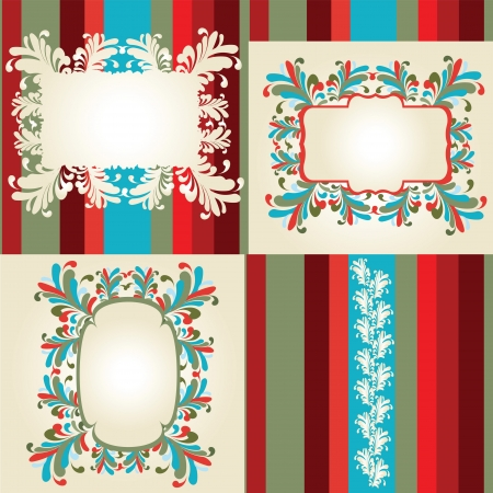 Multicolored flowery frames, ornaments and stripes Illustration