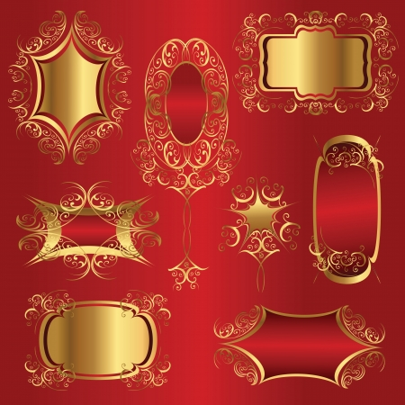 Golden frames with vintage ornaments on dark red background