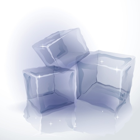 Three shining ice cubes with reflection on white background Illustration