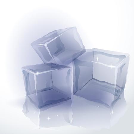 Three shining ice cubes with reflection on white background Illustration