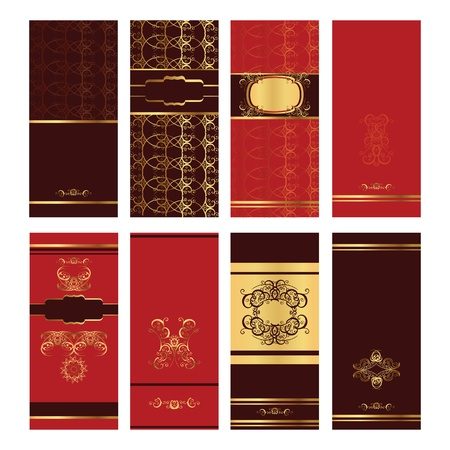 Vertical brown and red golden invitation post cards