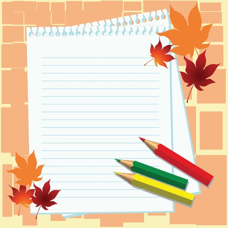 Notebook paper sheets, multicolored pencils and maple leaves of orange and dark red colour on orange background Illustration