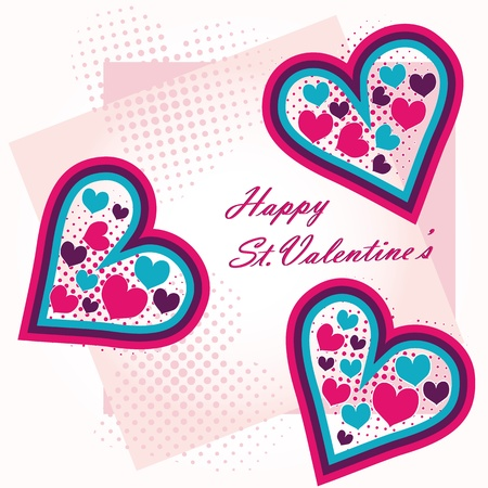 St Valentine s greeting postcard hearts