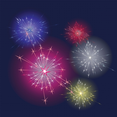 Fireworks  of different colour and shape on dark sky Illustration