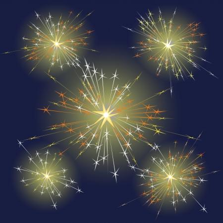 Fireworks  of different shapes on dark sky Illustration