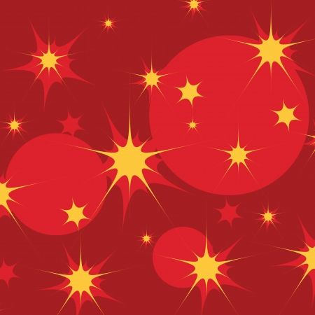 Yellow stars and red circles on dark red background