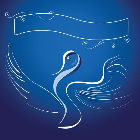 Stylized stork and sign plate with curls on dark blue background