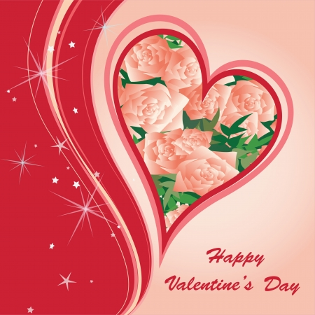 St Valentine s Greeting Postcard with hearts and flowers Illustration