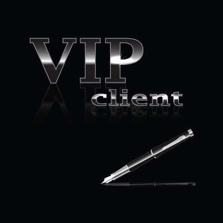 Steel text VIP Client and pen