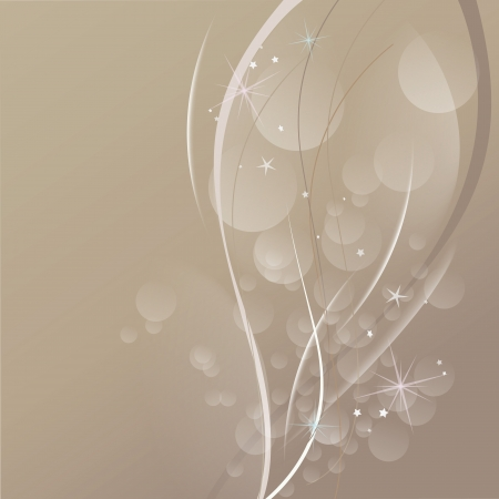 Transparent bubbles, waves and stars on brown background
