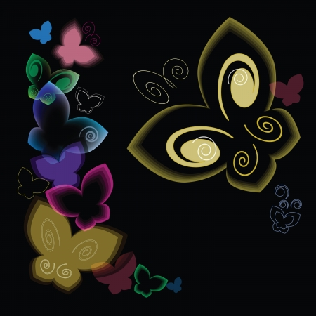 Butterflies flying on black background Illustration