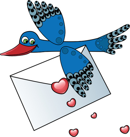 Bird Carrying a Love Letter Illustration