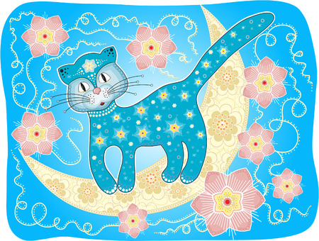 Blue Cat on the Moon Illustration