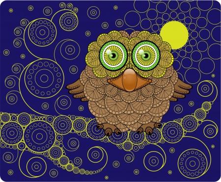 Night Owl on a Branch  Illustration