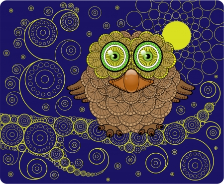 night bird: Night Owl on a Branch  Illustration
