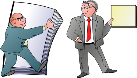Two men holding papers Illustration