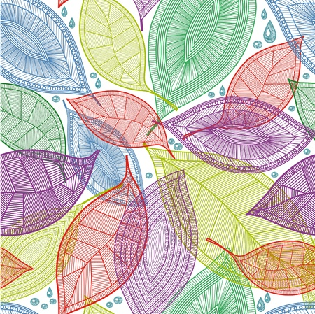 Seamless abstract color leaves pattern