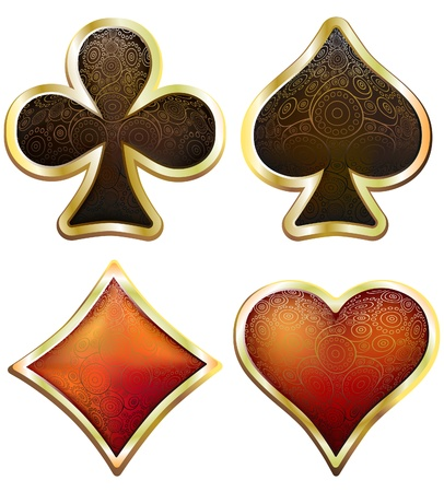 card suits symbol: Card suits in victorian style. Stock Photo